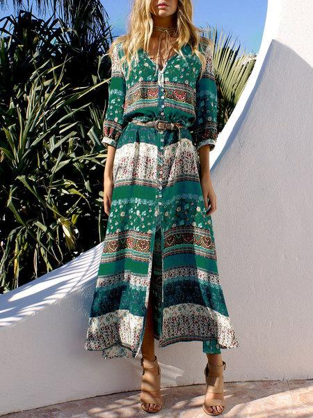 Holiday Tribal Printed 3/4 Sleeve V-neck Asymmetrical Dress