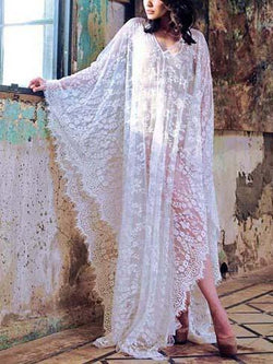 Summer plain loose lace transparent beach vacation dress