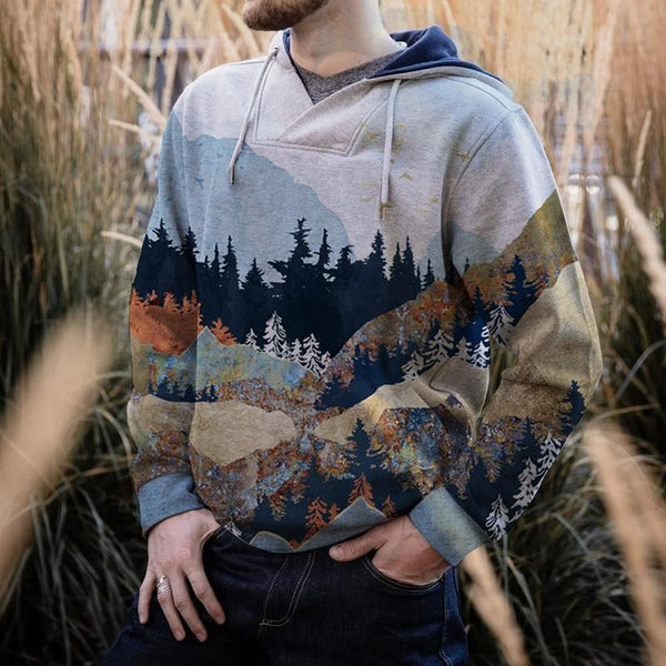 Men's Mountain Print Hooded Sweatshirt Hoodie