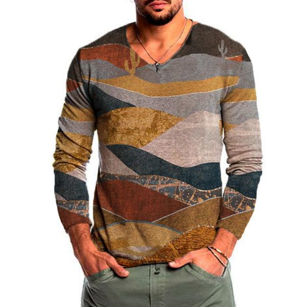 Men's mountain print casual long-sleeved t-shirt