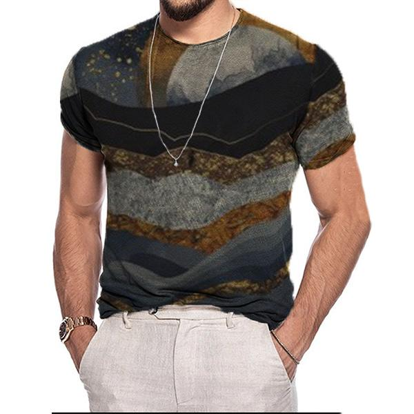 Men's casual mountain print short sleeve T-shirt