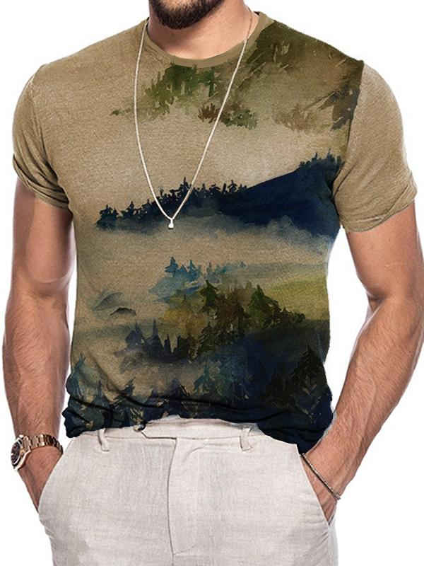 Men's forest scenery print  short tee