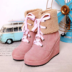Women Wedge Boots Casual Shoes