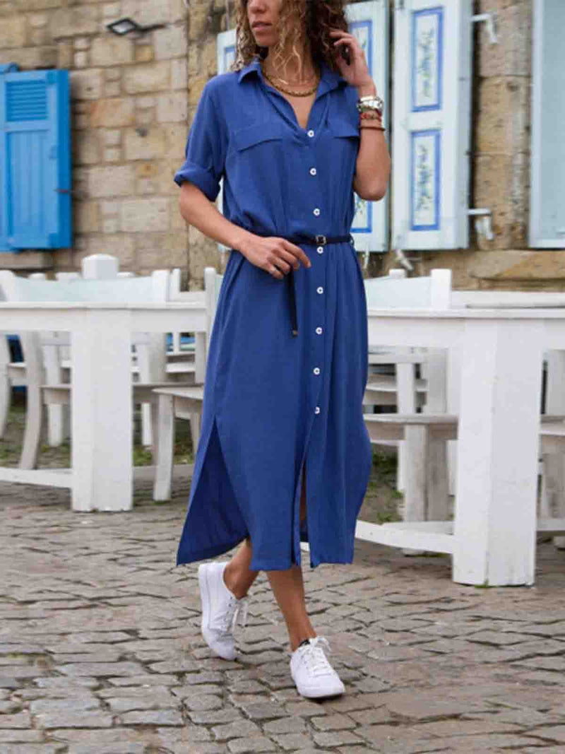 Shawl Collar  Shift Women 3/4 Sleeve Paneled Spring Dress
