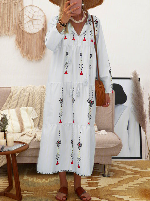 Bohemia style v neck floral printed long sleeve maxi dress
