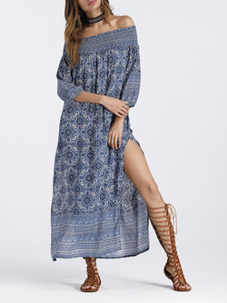 Holiday  Off Shoulder Casual Shift Floral Printed Maxi Dress