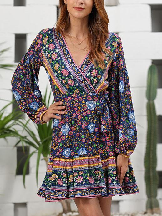 2020 V neck floral printed belted mini vacation dress