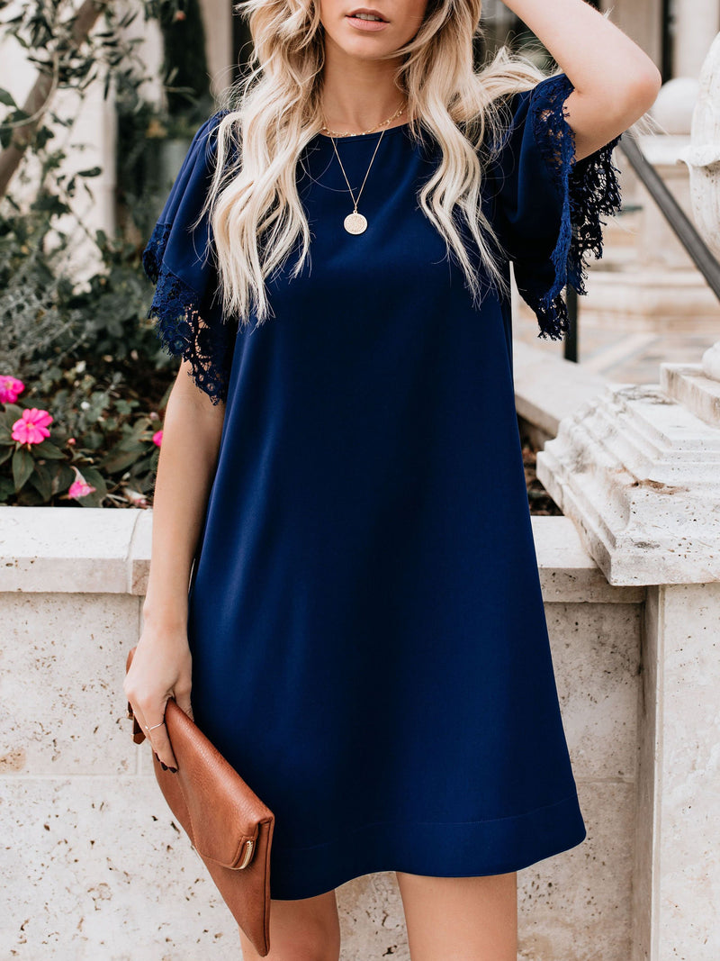 Chiffon Lace Short Sleeve Casual Dresses