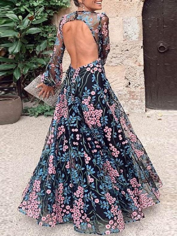 Summer round nevk printed backless vacation dress