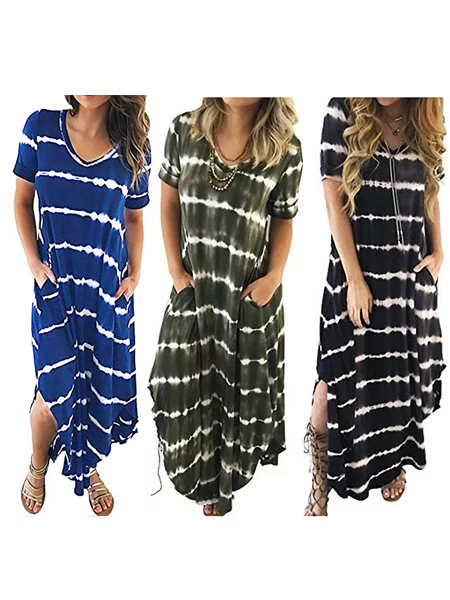 Swing Women Daily Short Sleeve Statement Striped Summer Dress