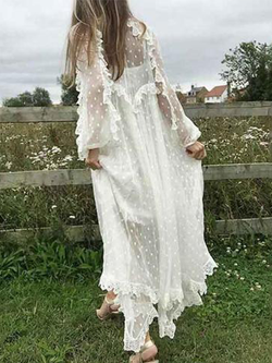 Casual Lace V Neck Long Sleeve Dresses