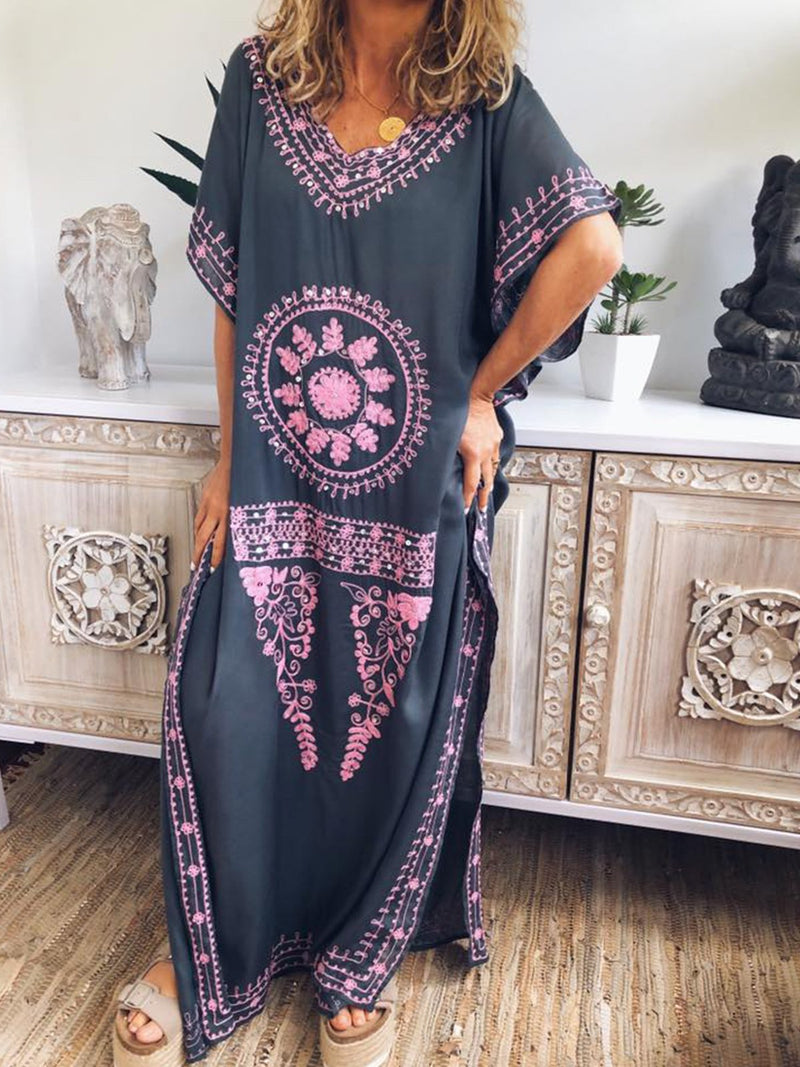 V Neck Women Embroidered Geometric Dress