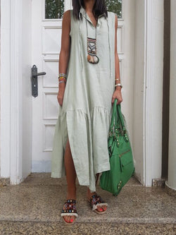 V Neck Women Summer Casual Solid Maxi Dresses