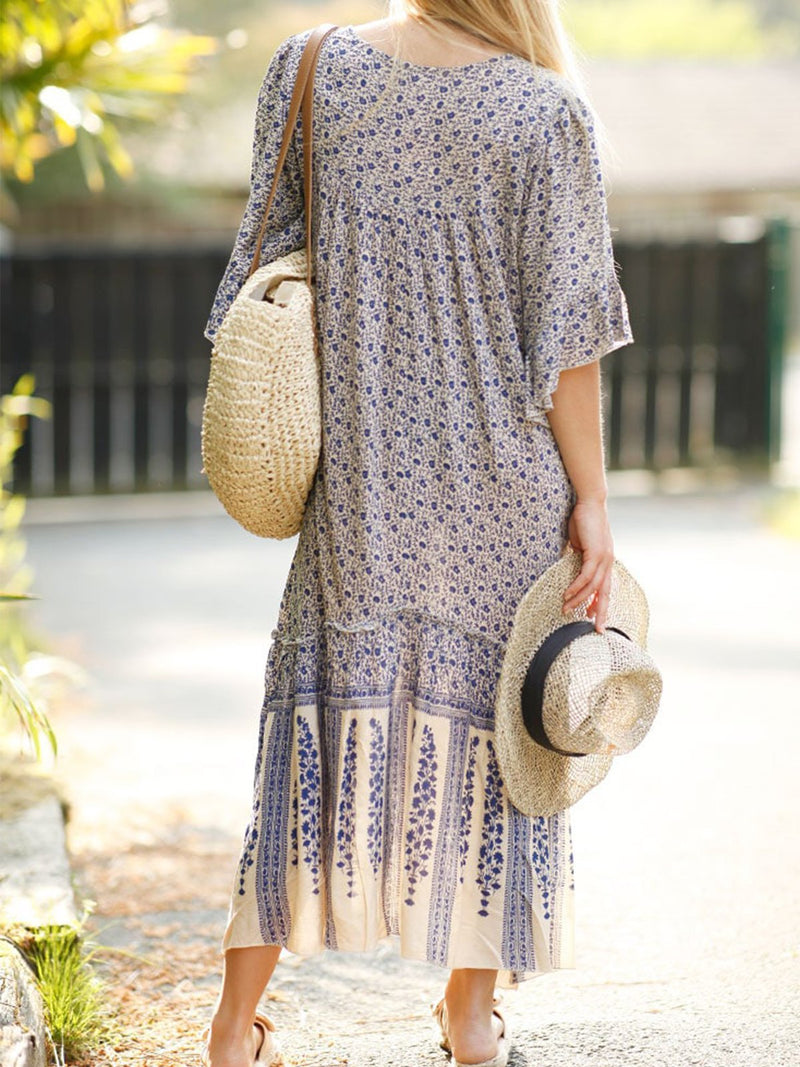 Black Casual V Neck Printed/dyed Chiffon Dresses