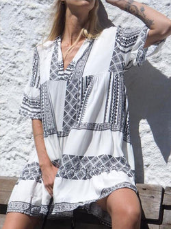 Casual Holiday V Neck Short Sleeve Dresses
