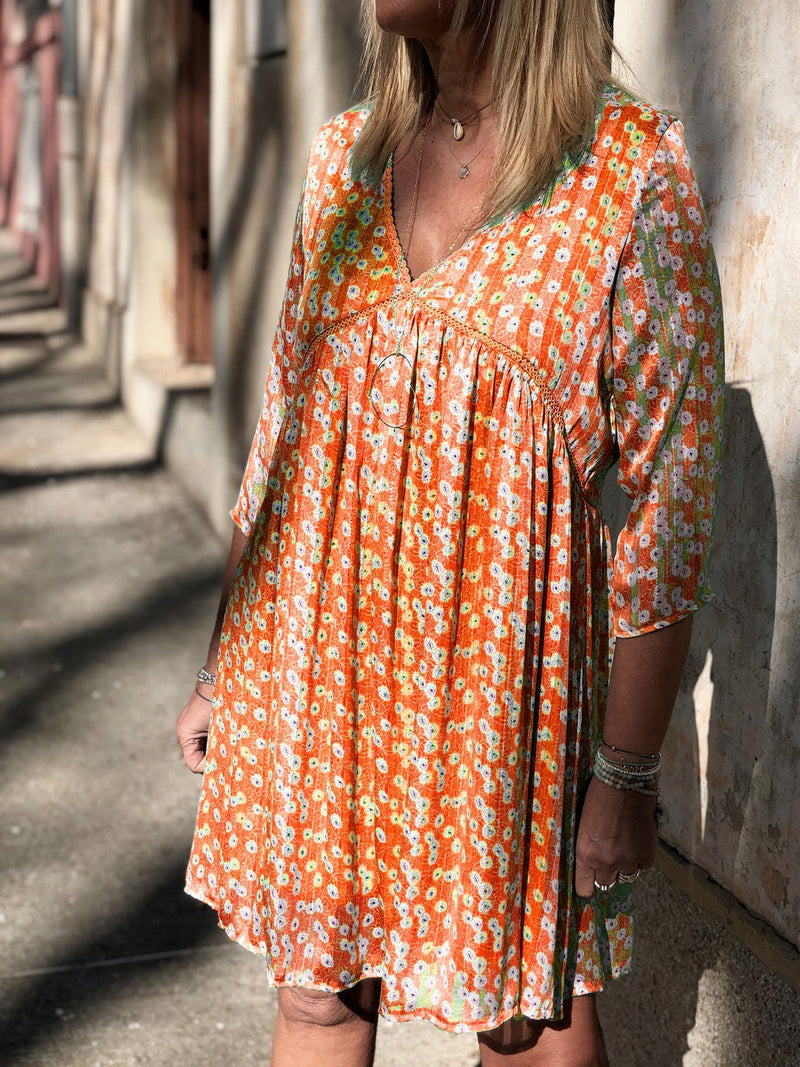 V Neck Women Dresses Date Boho Cotton-Blend Floral-print Dresses