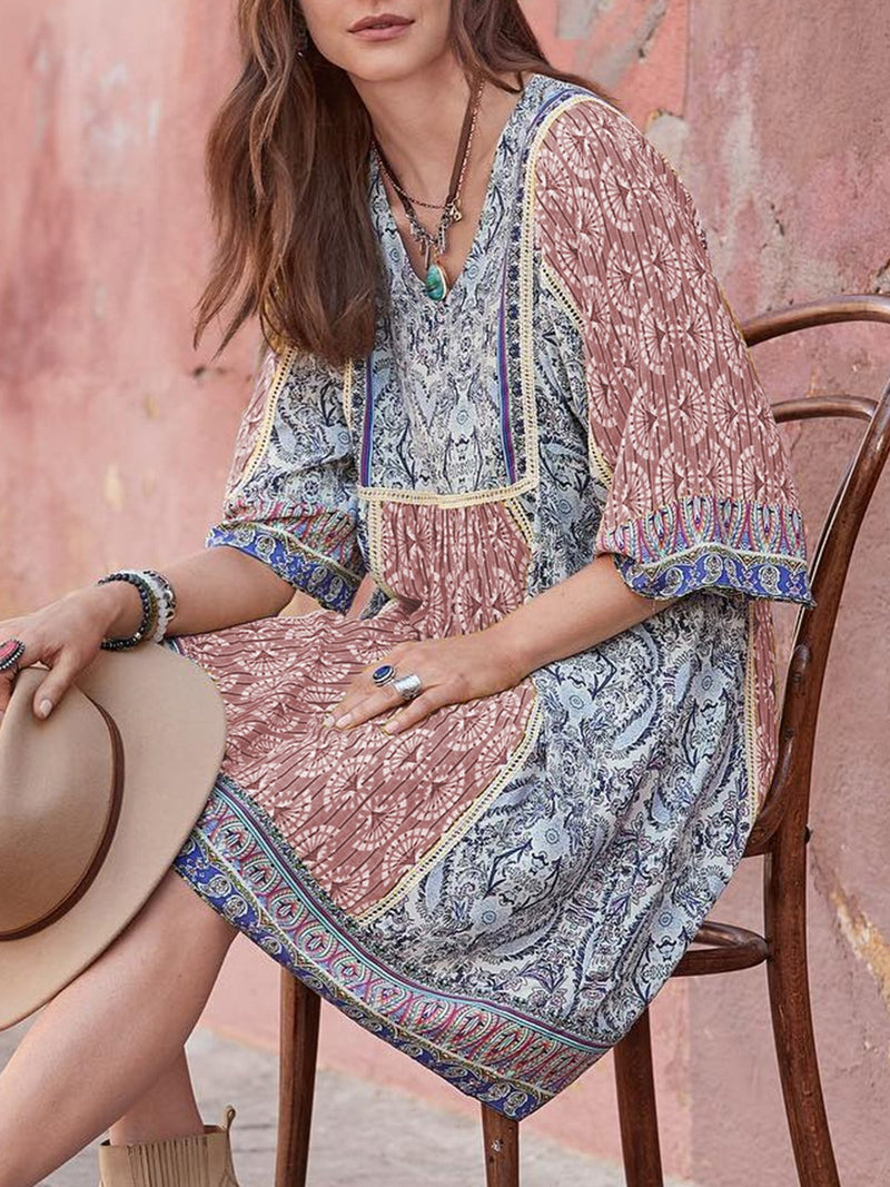 V Neck  Shift Daytime Casual Cotton-Blend Maxi Dresses