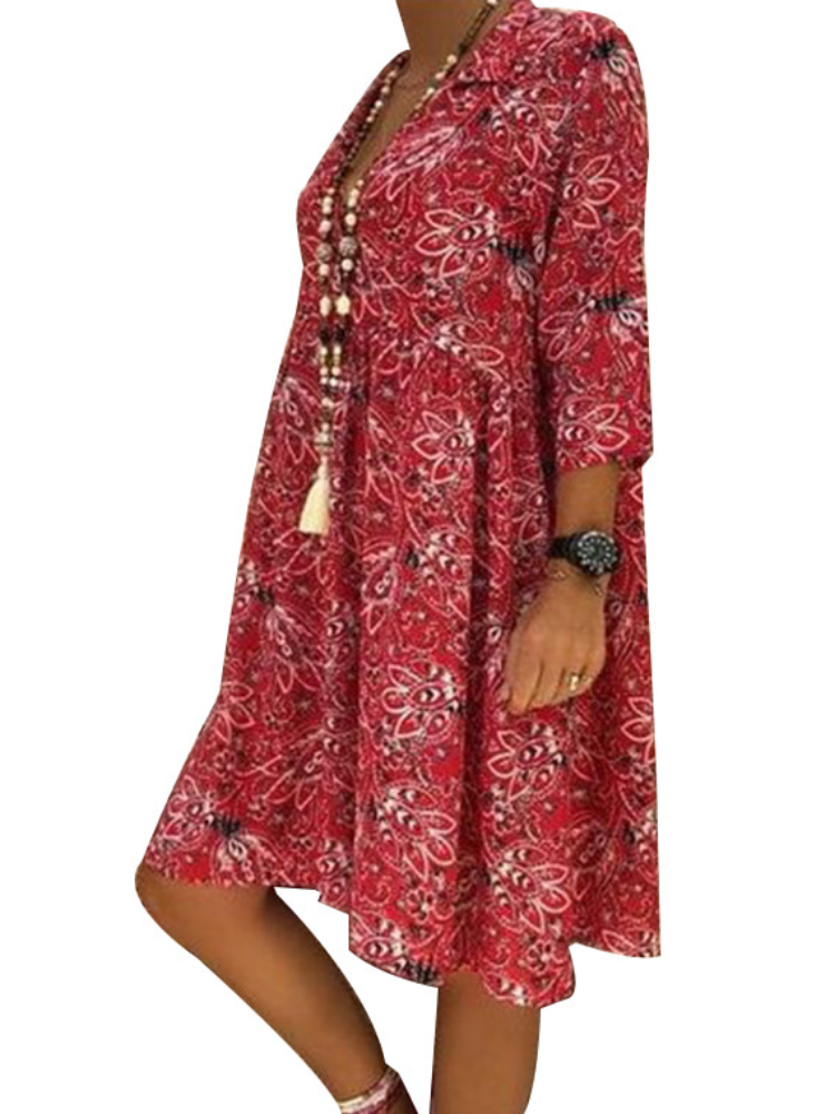 Women Printed Floral Cotton Vintage Casual Dresses For Travel