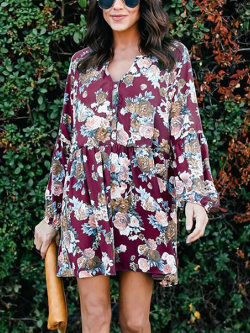 Casual V-neck Print Dress