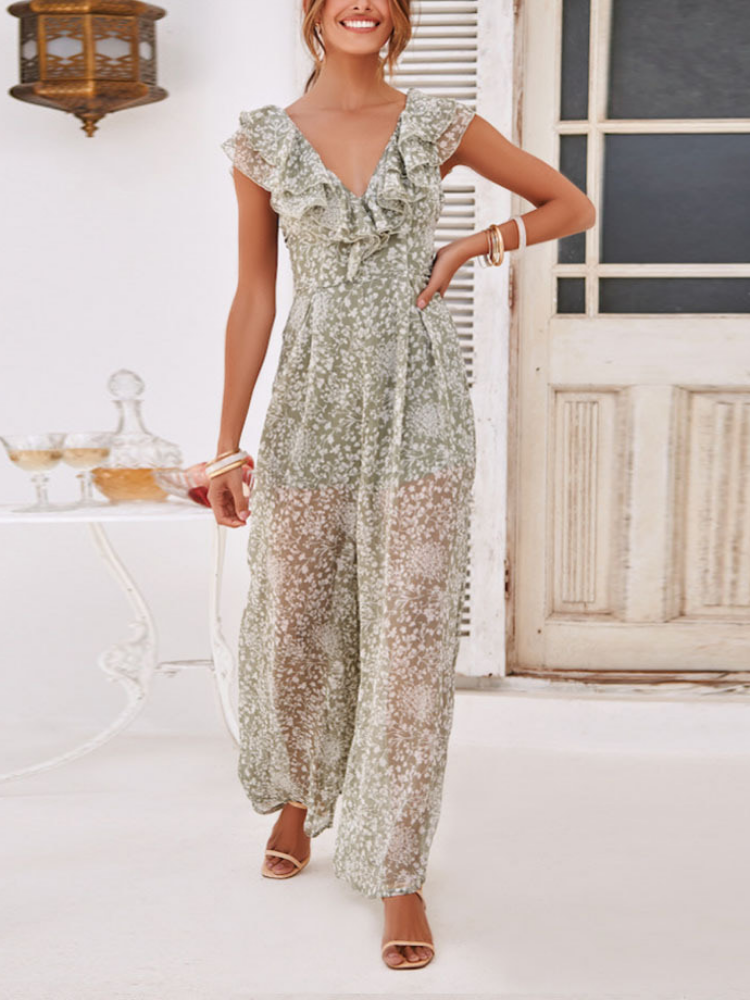 Sweet Floral Printed Short Sleeve Jumpsuits
