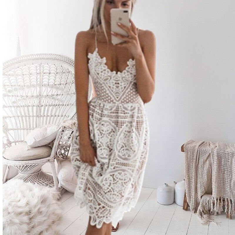 Beach Long Cover Up White Lace Swimsuit