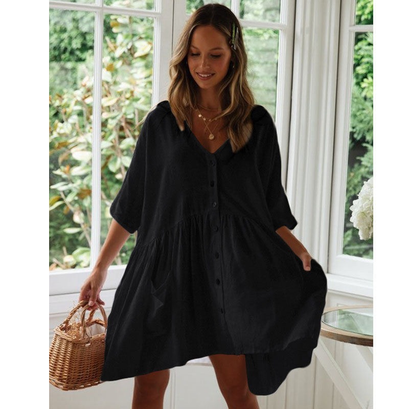 Tunic Dress Robe Solid White Cover Up