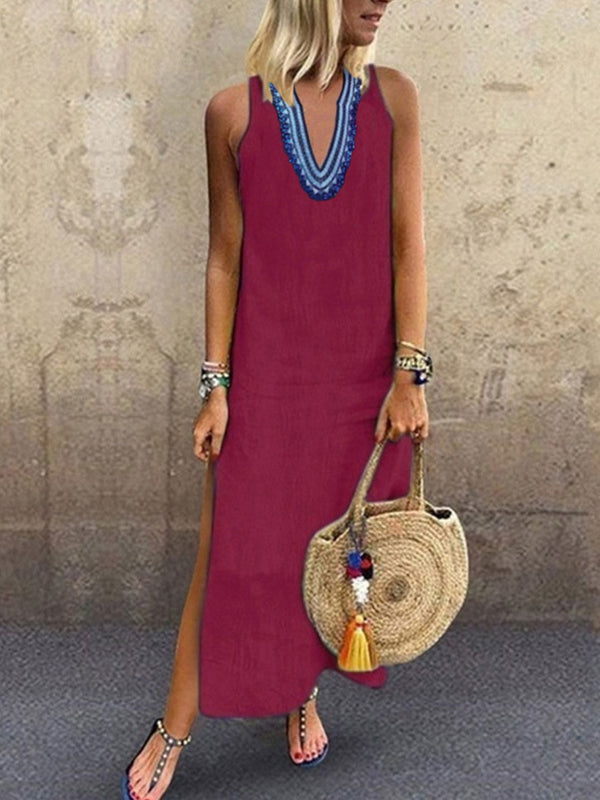 V Neck Women Tribal Dress