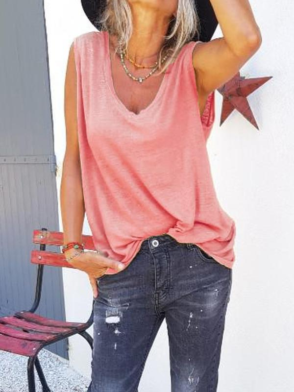 Sleeveless V Neck Solid Shirts & Tops