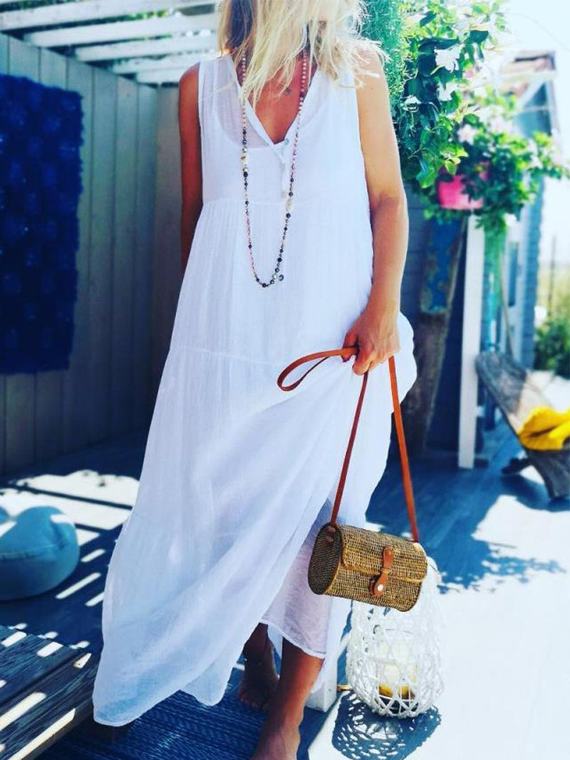 Casual Solid  V Neck Sleeveless Dresses