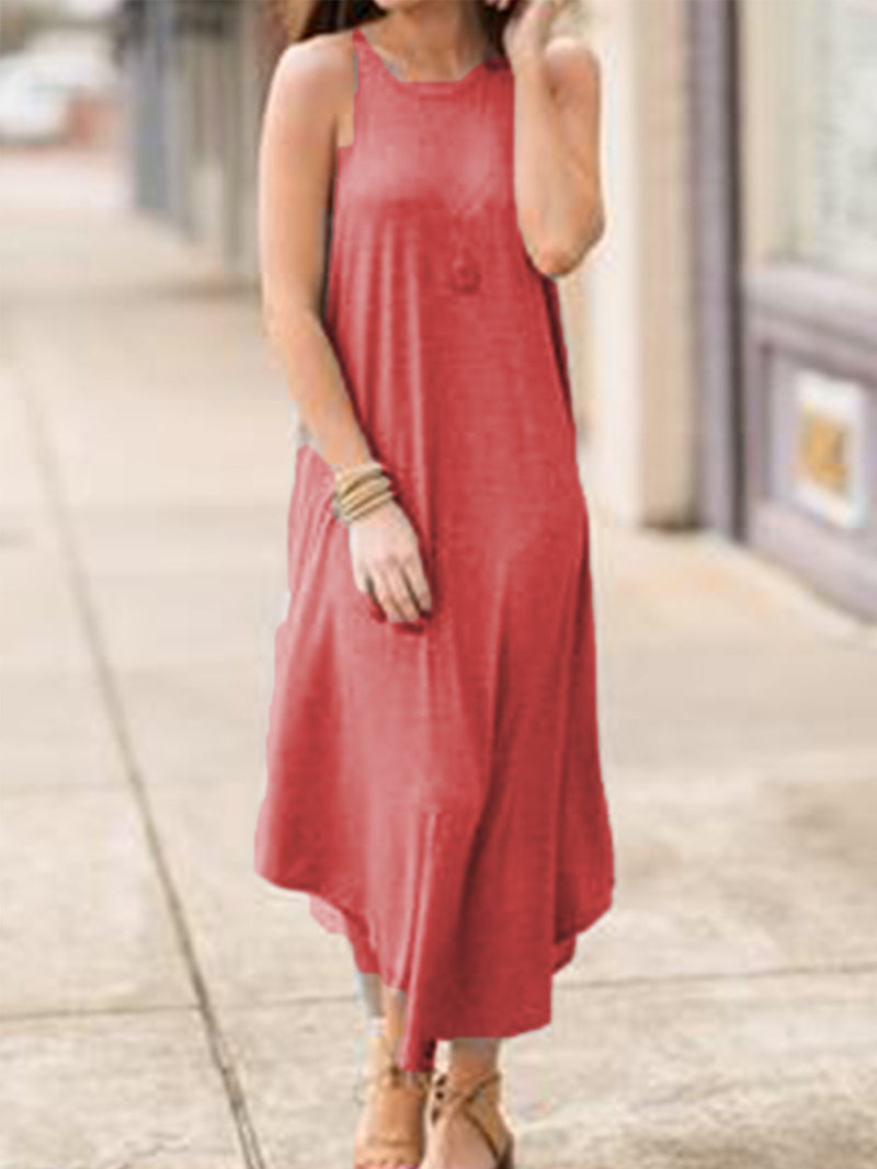 Light Gray Casual Round Neck Solid Dresses