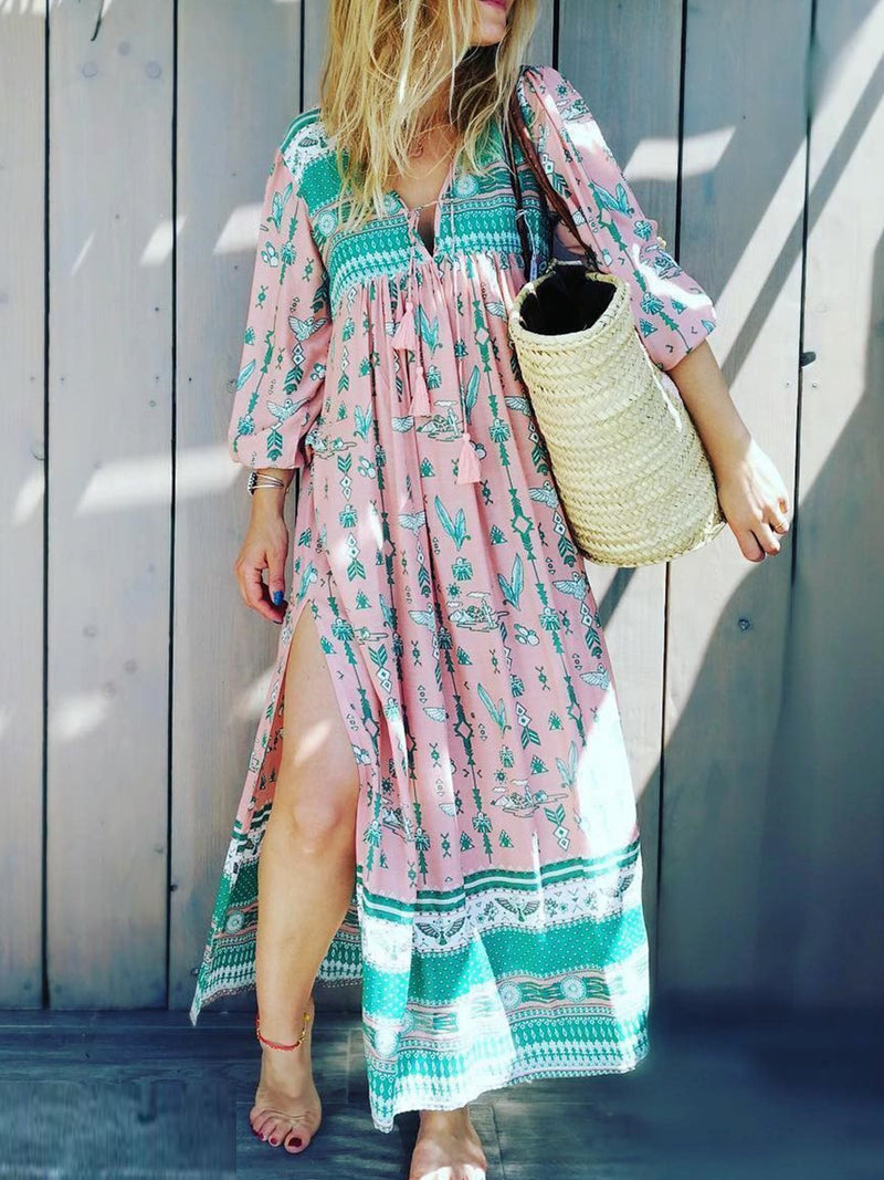 Pink Long Sleeve Floral Vacation Dresses
