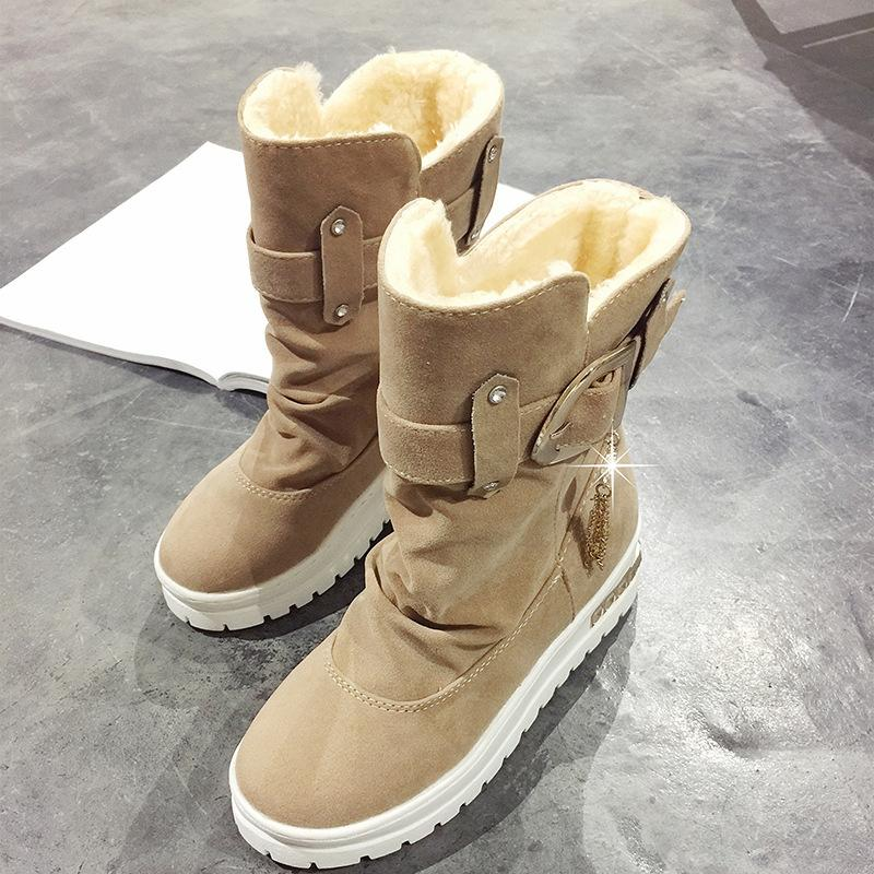 Womens Daily Suede Buckle Snow Boots