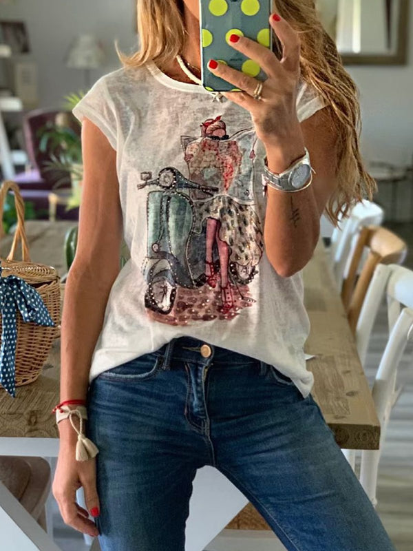 Summer Short Sleeve Round Neck Cotton Casual Tops