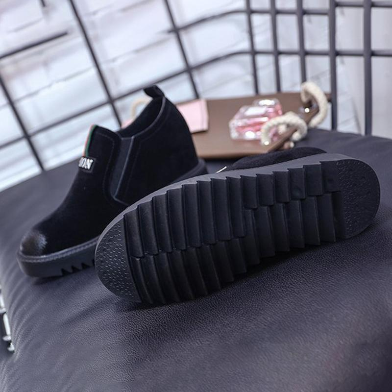 Women Wedge Sneakers Athletic Flocking Slip On Shoes