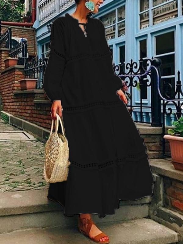 V Neck Lantern Sleeve Hollow Out Maxi Fall Dress