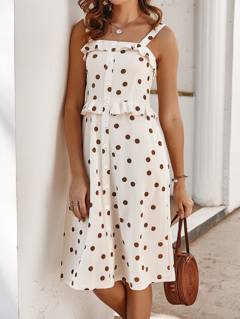 Sweet off shoulder slim dot printed vacation dress