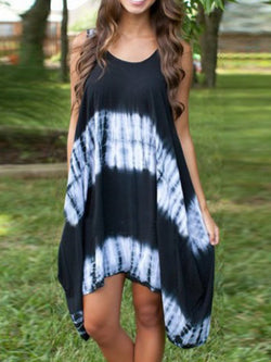 Crew Neck Black Women Dresses Going Out Ombre/tie-Dye Dresses
