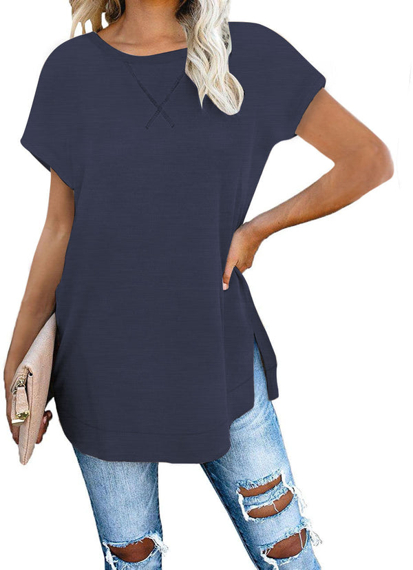 Chic plain round neck loose slit short sleeve shirt