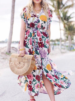 Multicolor Holiday Floral A-Line Frill Sleeve Dresses