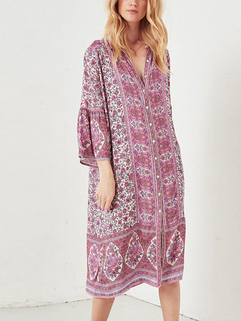 Summer Bohemian Style V Neck Sexy Printed Dress