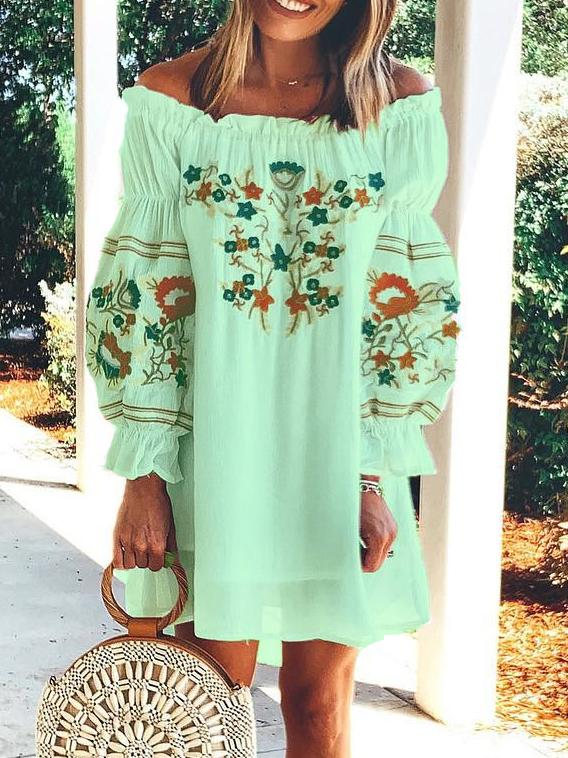 Off Shoulder Long Sleeve Cotton Vacation Dresses