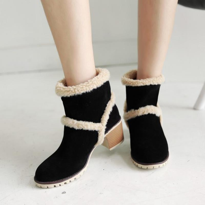 Womens Casual Chunky Heel Ankle Snow Boots
