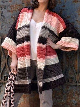 Multicolor Cotton-Blend Long Sleeve Outerwear