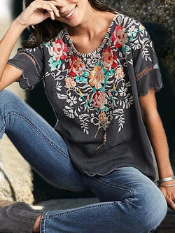 Women Boho Shirts Round Neck Floral Casual Floral