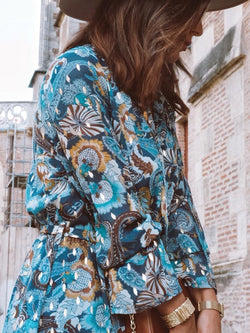 Blue Floral Long Sleeve Vacation Dresses