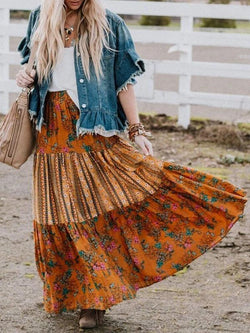 Vintage floral printed loose pleated skirt vacation dress