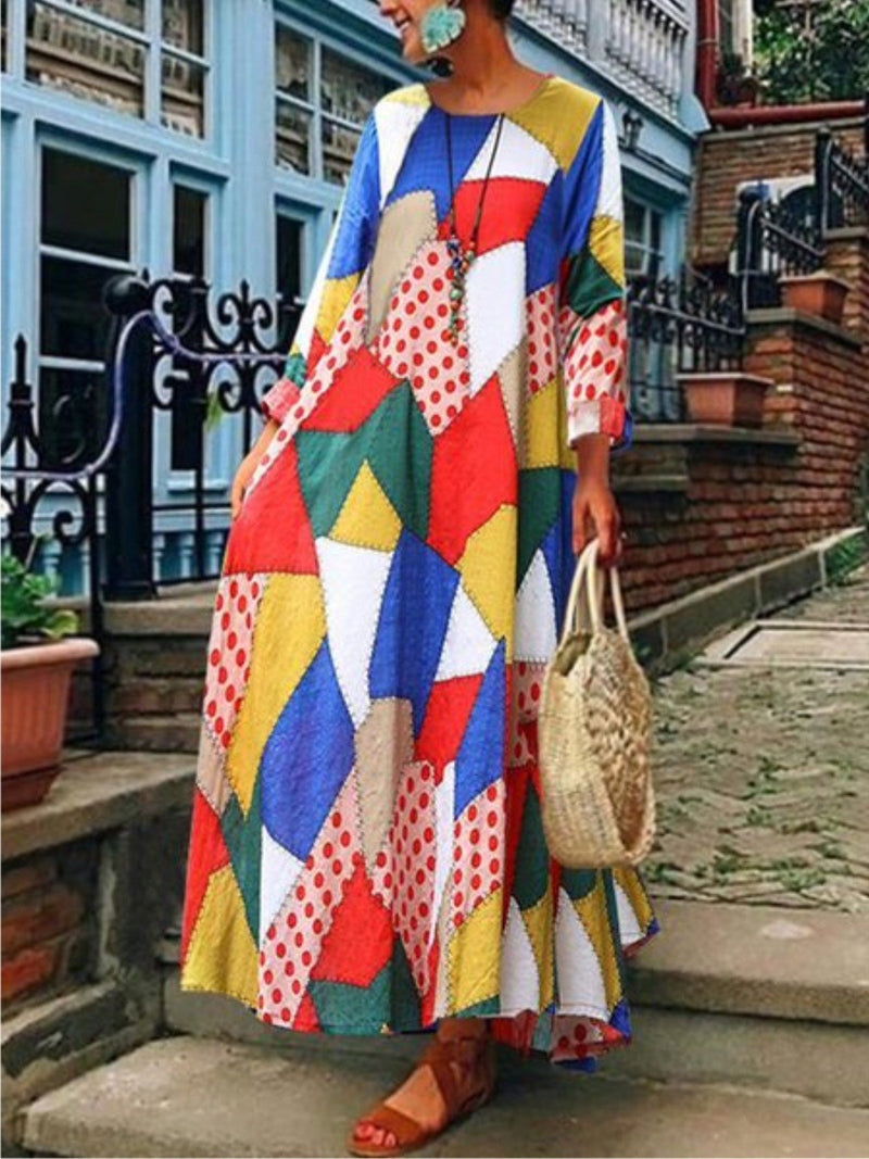 Women  Daily Vintage Geometric Pockets Maxi Dresses