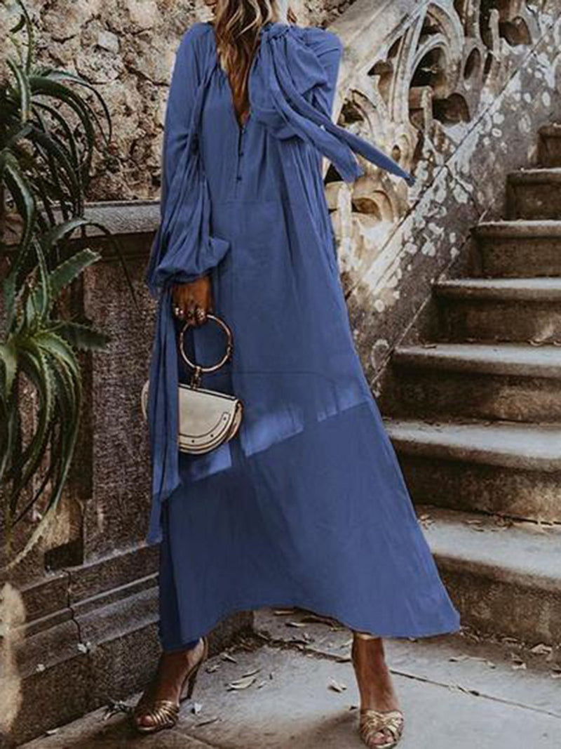Long Sleeve V Neck Vacation Dresses