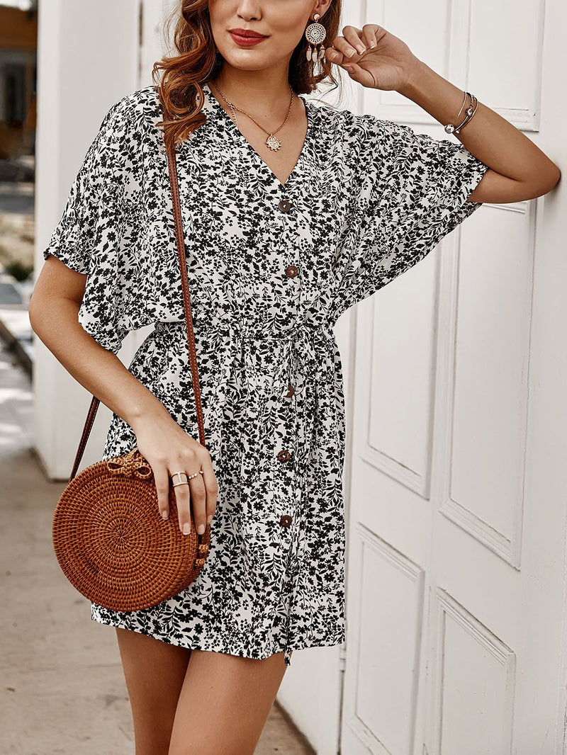 Summer v neck button floral printed defined waist vacation dress