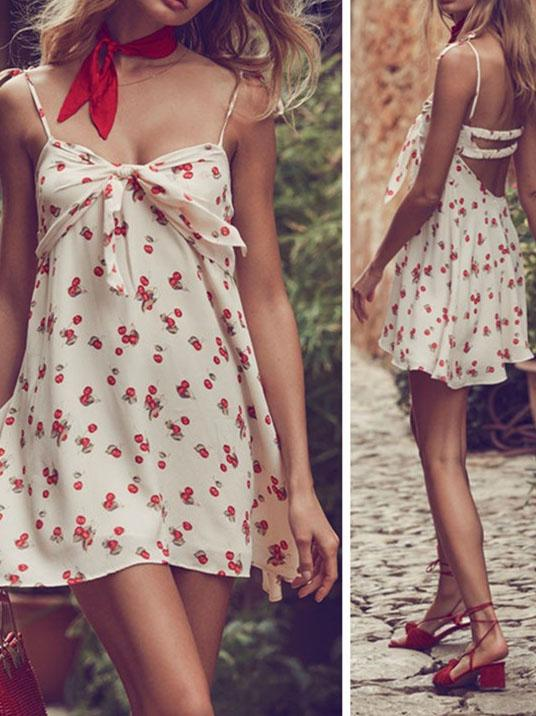 Lovely floral printed bow decorated backless mini dress